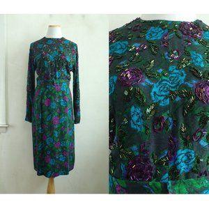 Vintage Beaded Dress 1950s Handmade Size XS/Small